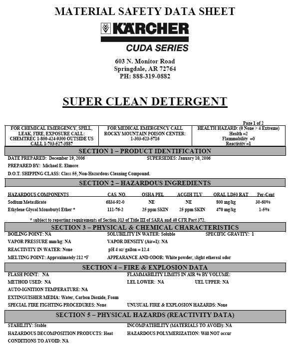 Super Clean Material Safety Data Sheet